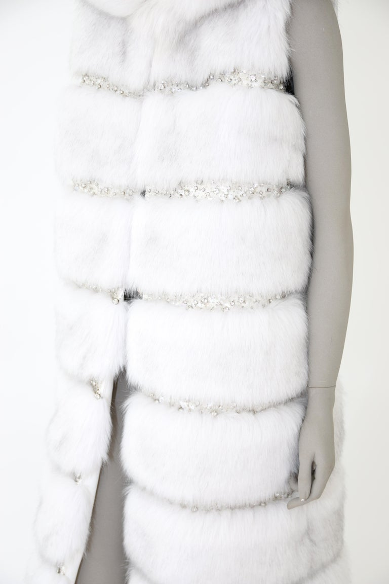 Pelush White Faux Fur Fox Vest With Crystal Embroidery And Detachable Hood - S For Sale 11