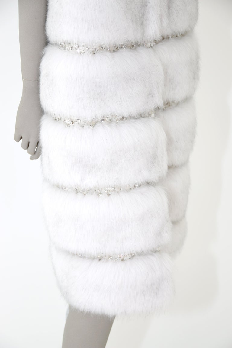Women's Pelush White Faux Fur Fox Vest With Crystal Embroidery And Detachable Hood - S For Sale