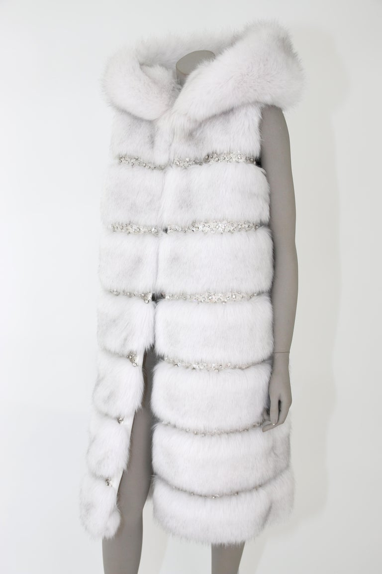Pelush White Faux Fur Fox Vest With Crystal Embroidery And Detachable Hood - S For Sale 3