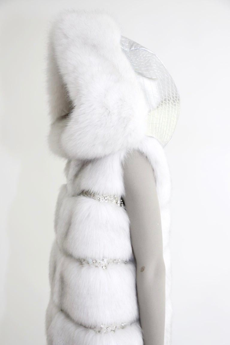 Pelush White Faux Fur Fox Vest With Crystal Embroidery And Detachable Hood - S For Sale 4