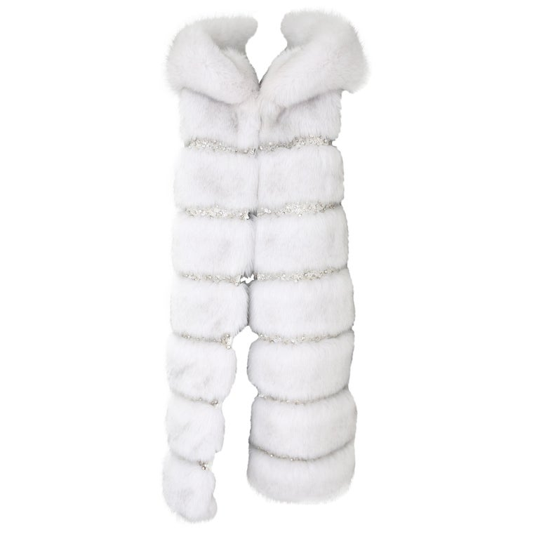 Pelush White Faux Fur Fox Vest With Crystal Embroidery And Detachable Hood - S For Sale