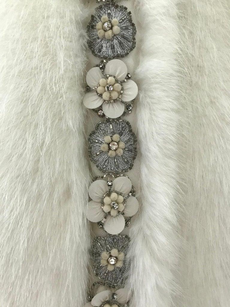 Pelush White Faux Fur Mink Vest with Details - One Size S/M For Sale 11