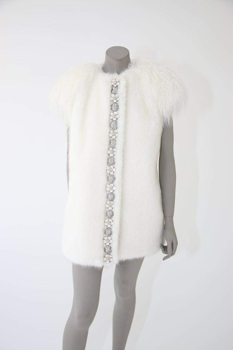 Pelush White Faux Fur Mink Vest with Details - One Size S/M For Sale 2