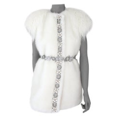 Pelush White Faux Fur Mink Vest with Details - One Size S/M