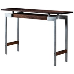 Pembroke Console Table, by Ambrozia in Claro Walnut and Brushed Stainless Steel
