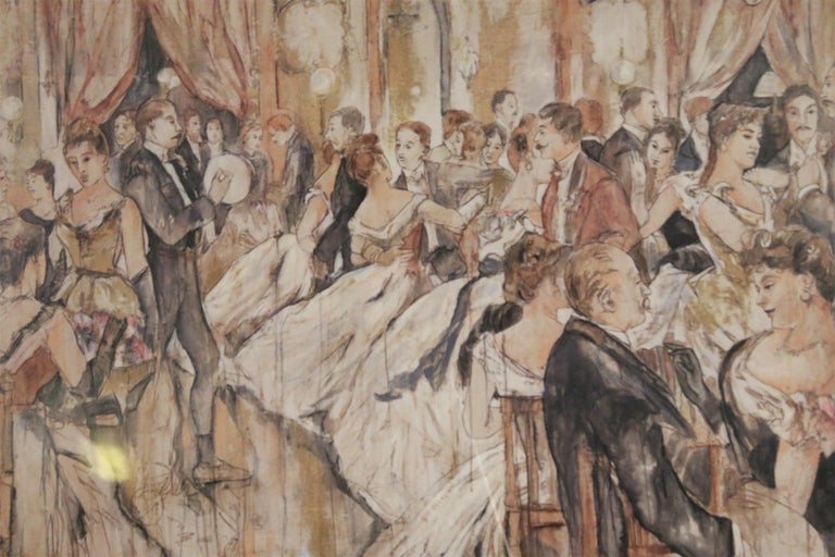 French (late 19th Century) pen and ink painting of a ballroom scene in a rectangular silver wooden frame.