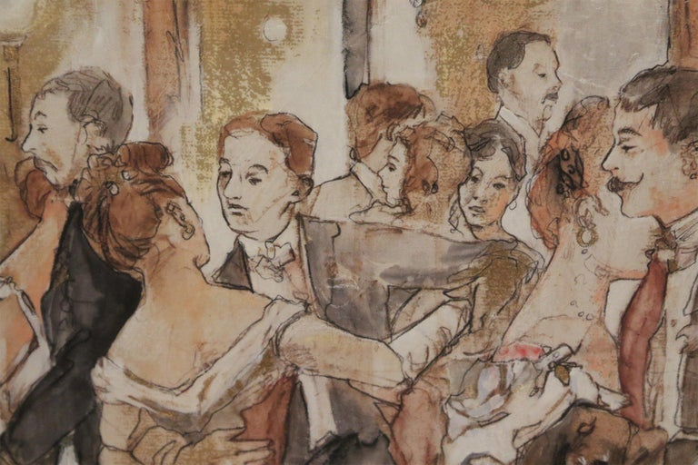 Paint Pen and Ink Silver Framed Drawing of a Belle Époque Ballroom Scene For Sale
