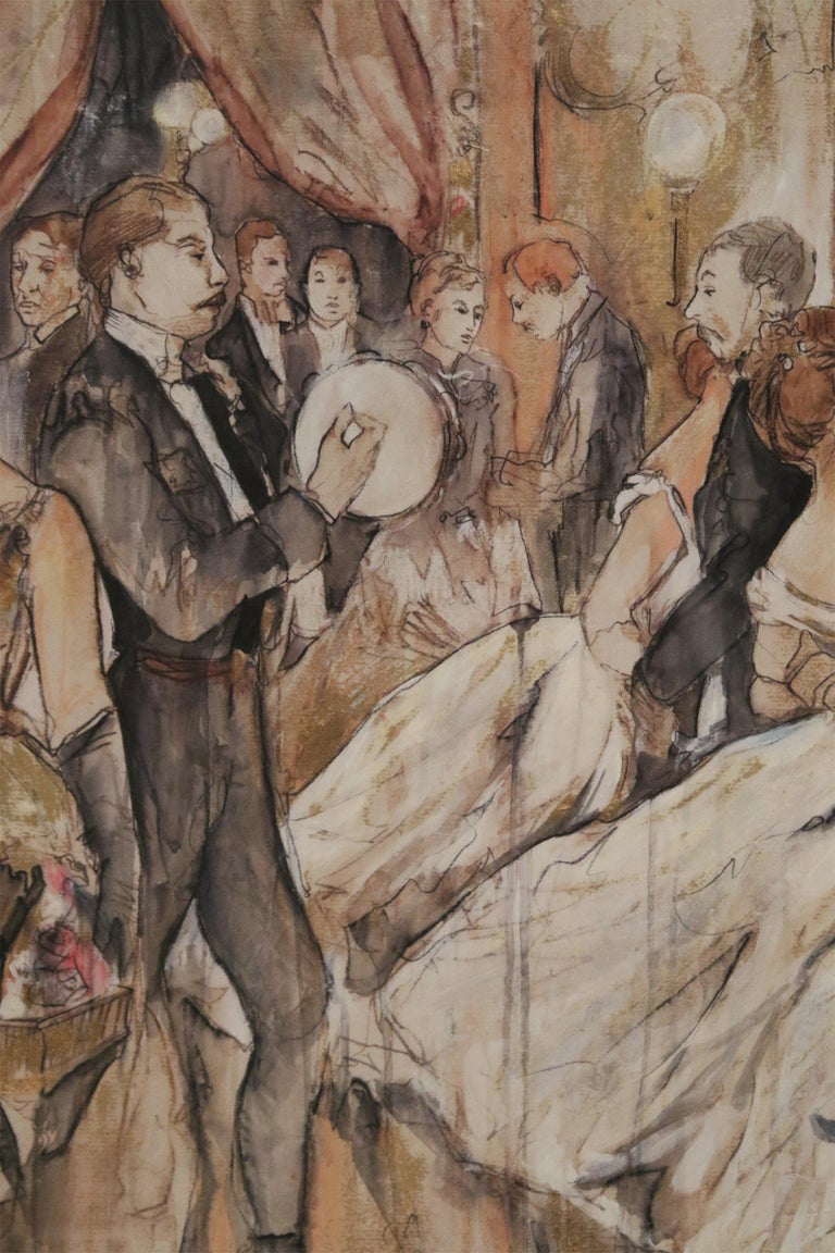 Pen and Ink Silver Framed Drawing of a Belle Époque Ballroom Scene For Sale 2