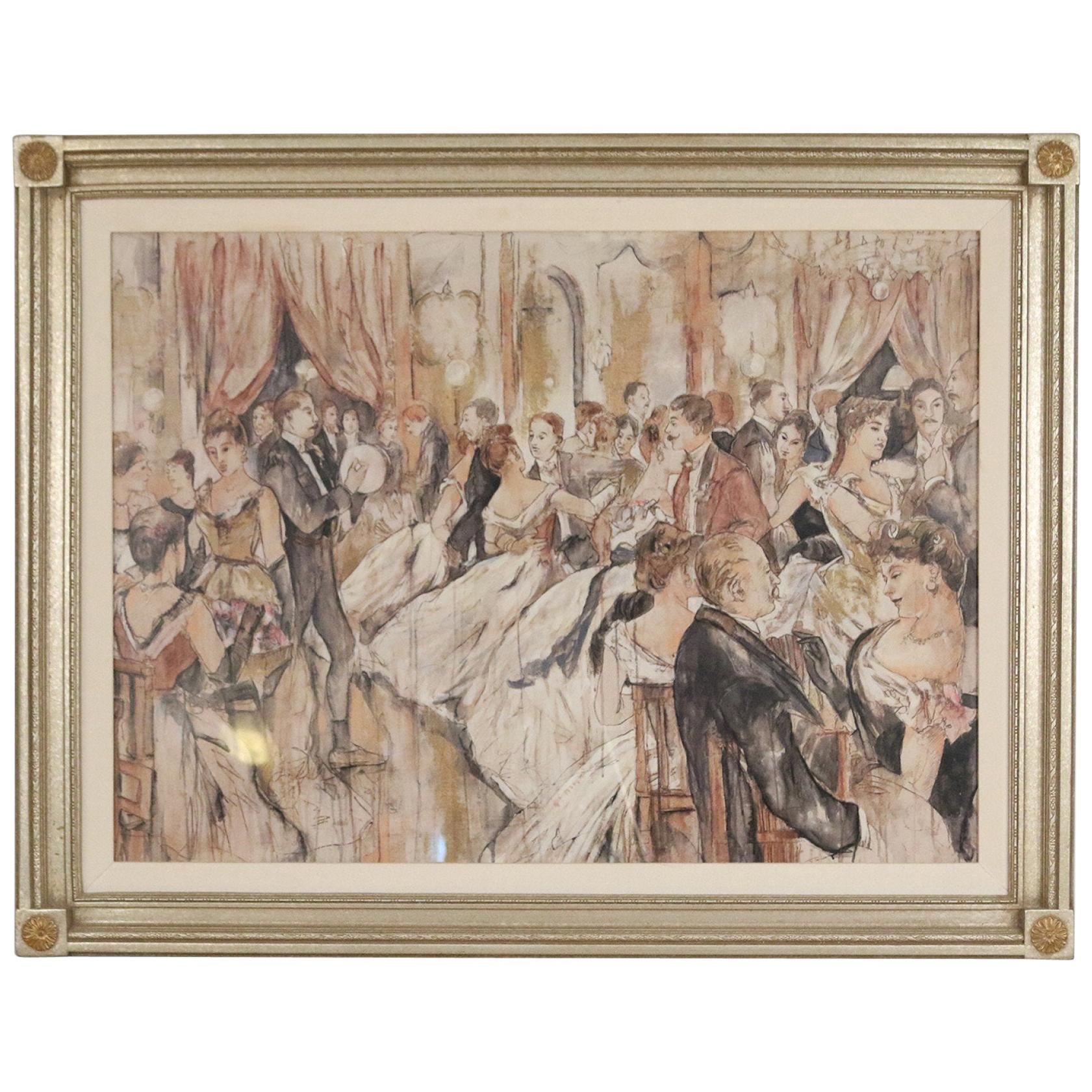 Pen and Ink Silver Framed Drawing of a Belle Époque Ballroom Scene