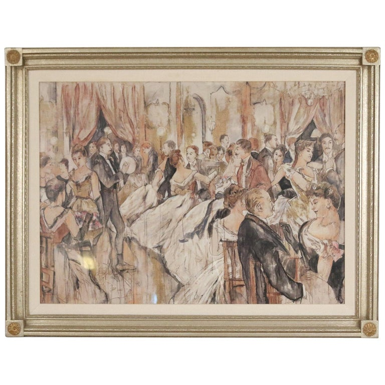 Pen and Ink Silver Framed Drawing of a Belle Époque Ballroom Scene For Sale