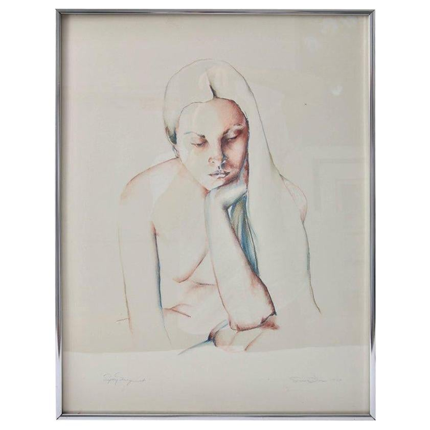 Pencil and Watercolor Drawing of a Young Woman