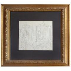 Cundo Bermudez Pencil Drawing, Cuban American Master