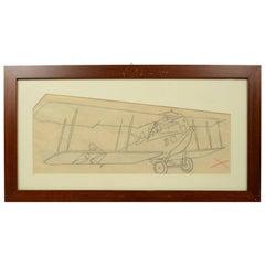 Pencil Drawing Depicting a Brandenburg C I Aircraft WWI by Riccardo Cavigioli