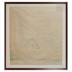 Pencil Aviation Drawing Depicting a Caudron G Wwi Aircraft by Riccardo Cavigioli