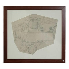 Antique Pencil Aviation Drawing depicting a WWI Two-Seat Biplane Aircraft