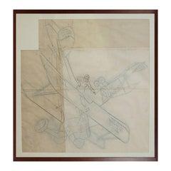 Pencil Aviation Drawing Depicting Albatros DV WWI Aircraft by Riccardo Cavigioli