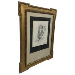 Pencil on Paper Brutalist Cubism Framed Wall Art Tette De Femme