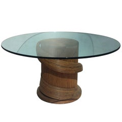 Pencil Rattan Dining Table with Glass Top, Style of Crespi