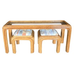 Pencil Reed Glass Shelf Console with Two Coordinating Benches