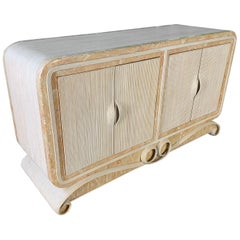 Pencil Reed Rattan and Stone Scroll Sideboard