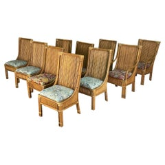 Pencil Reed Rattan High Back Dining Chairs, Set of 10