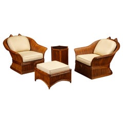 Pencil Reed Rattan Lounge Chair Set Attributed to Betty Cobonpue, circa 1980s