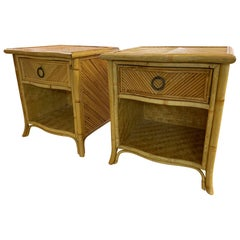 Pencil Reed Rattan Nightstands in the Manner of Gabriella Crespi