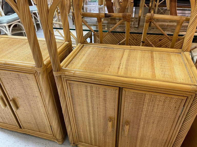 Pencil Reed Rattan Wrapped Etageres, a Pair In Good Condition For Sale In Jacksonville, FL