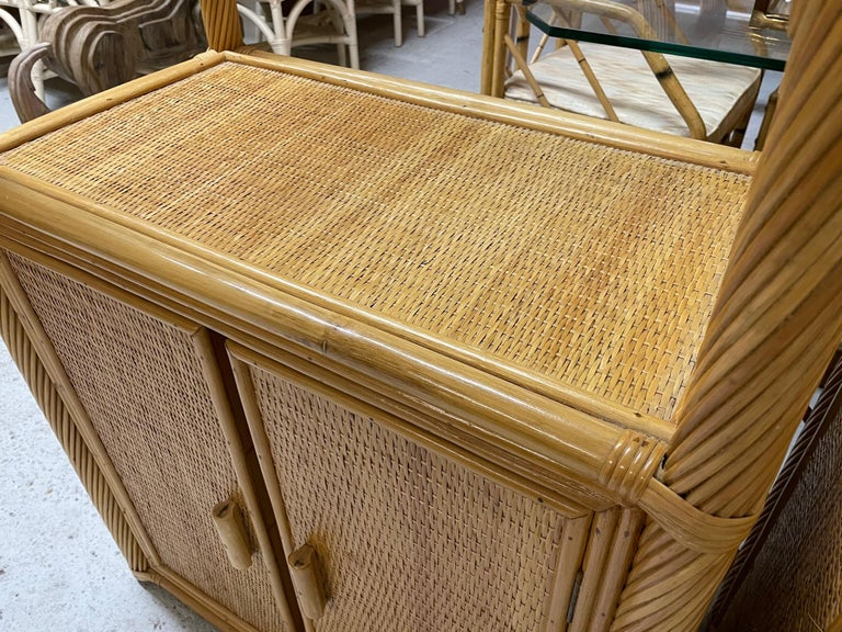 Late 20th Century Pencil Reed Rattan Wrapped Etageres, a Pair For Sale
