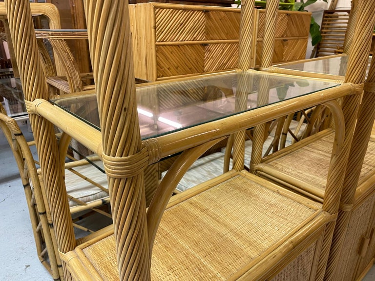Pencil Reed Rattan Wrapped Etageres, a Pair For Sale 2