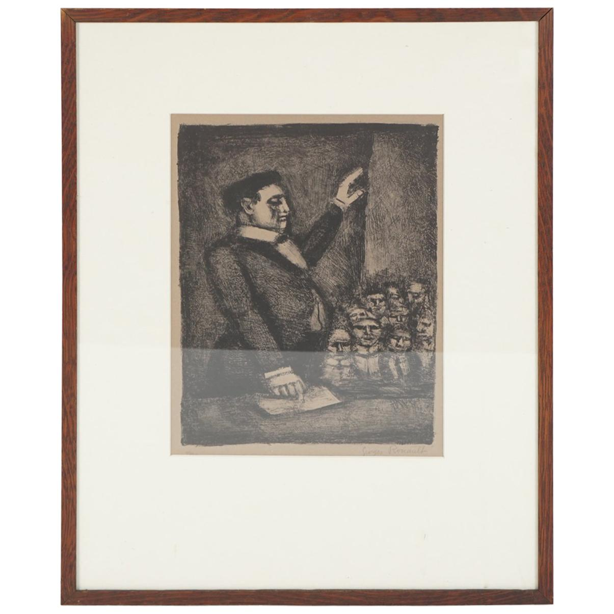 """Pencil Signed and Numbered Rouault Lithograph """"Idéal / L'Orateur"""""""