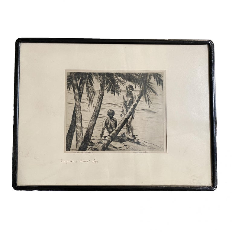 Pencile Nude Hawaii Etching Circa 1929 by Huc-Mazelet Luquiens, Pair In Excellent Condition For Sale In Van Nuys, CA