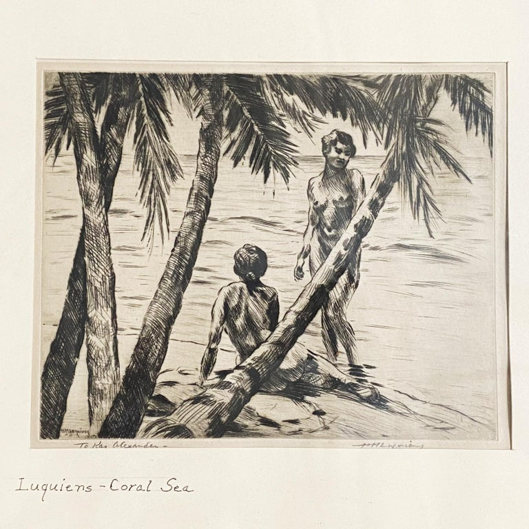Early 20th Century Pencile Nude Hawaii Etching Circa 1929 by Huc-Mazelet Luquiens, Pair For Sale