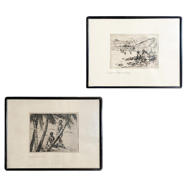 Pencile Nude Hawaii Etching Circa 1929 by Huc-Mazelet Luquiens, Pair For Sale