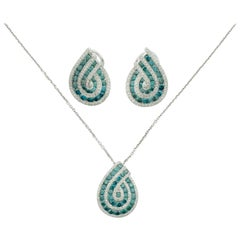 Pendant and Earring Set with Blue Diamonds in White Gold