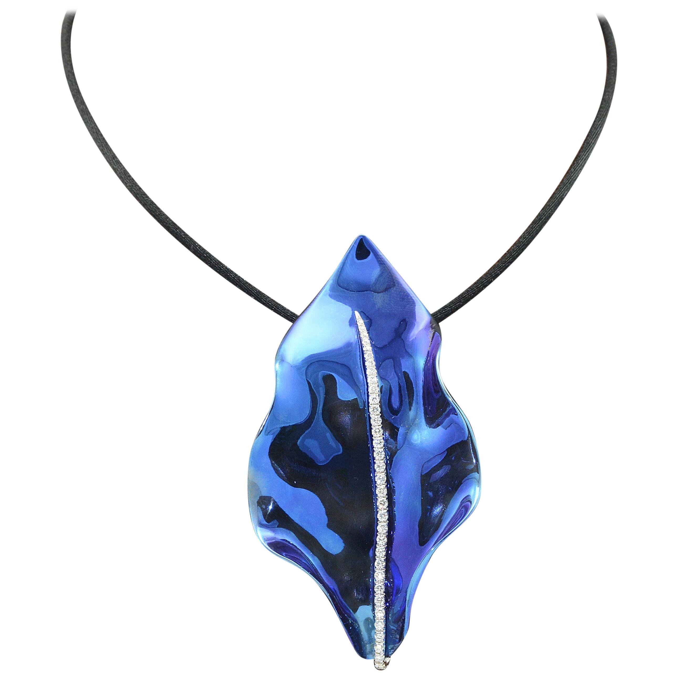 Blue Titanium Diamond 18 KT White Gold Pendant and Brooch