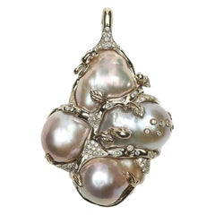Pendant by Bibi van der Velden Diamonds Baroque Pearls White Gold