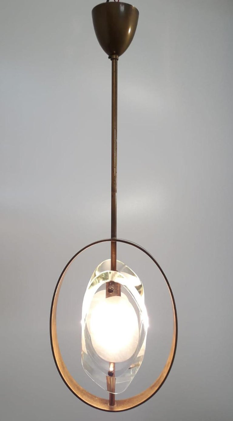 Rare vintage Italian ceiling light, made of thick cut and carved glass with satin finish on the inside, connected with brass hardware / Designed by Max Ingrand and manufactured by Fontana Arte, circa 1960s, model 1933.   Literature:  Pierre-Emmanuel