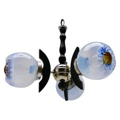 Pendant by Mazzega with 3 Globes of Clear Glass with Orange and Bleu Inclusions