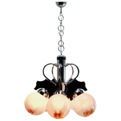 Pendant by Mazzega with 5 Globes of Clear Glass with Orange Inclusions