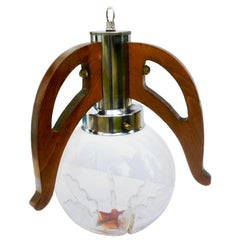 Pendant by Mazzega with Globes of Clear Glass with Orange Inclusions