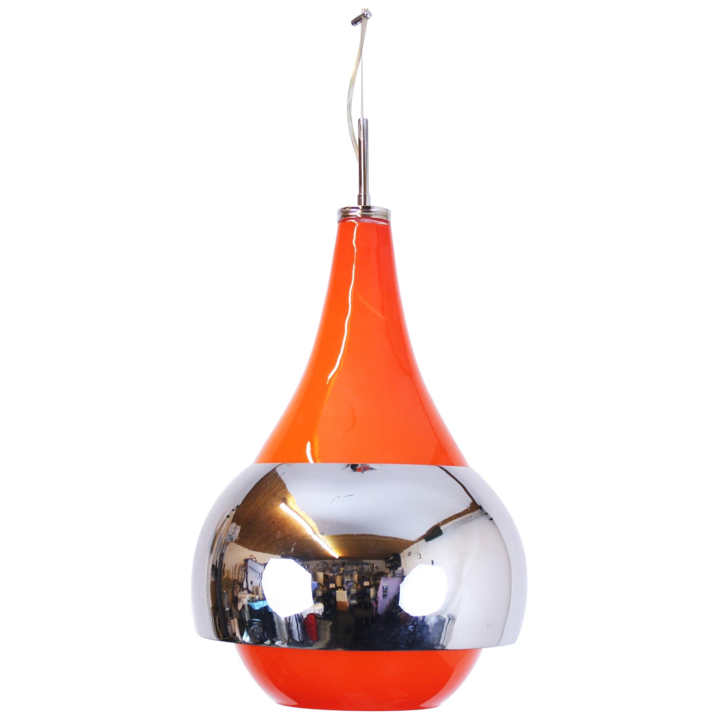 Pendant Ceiling Lamp Style Gae Aulenti Murano Glass Metal Chromium, Italy, 1970s