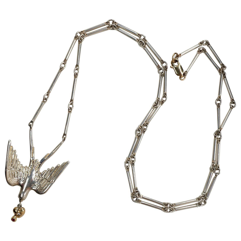 Pendant Chain Necklace Dove White Diamond Ruby Gold Heart Silver J Dauphin