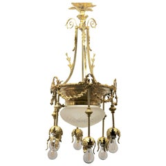 Pendant Chandelier Cast Brass with Six-Arms, Late 19th Century