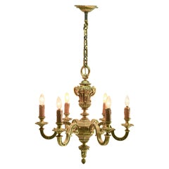 Pendant Chandelier Solid Cast Brass with Six-Arms, Late 19th Century