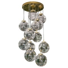 Pendant Chandelier with Thirteen Glass Globes