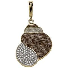 Pendant Charm Yellow Gold White Diamonds Micro Mosaic Designed by Fuksas