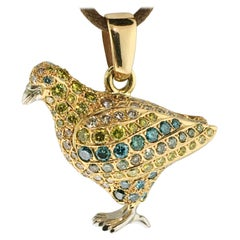 Pendant Dove, Unique Piece, 18 Carat Gold, 198 Colored Diamonds, 5.41 Carat