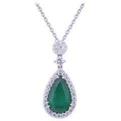 Pendant Drop Certified Emerald Necklace with Diamonds on Top and Chain
