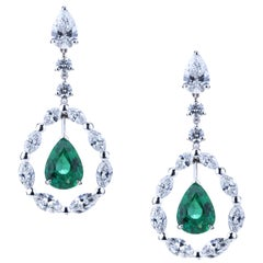Pendant Drop Emerald Earrings in a Circle of Navette Diamonds and Solitaire